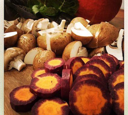 frisch geschnittenes Gemüse