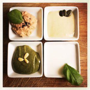 Auberginencreme, Tahini, Kürbiscreme, Kokosmilch als Milchersatz